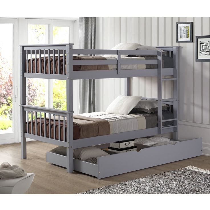 Solid Bunk Bed with Trundle Bed -