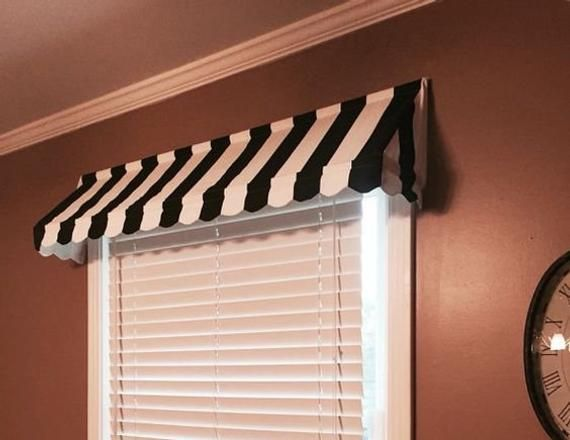 Custom Striped Awning Valance Scalloped Edge Indoor Awning Etsy Indoor Awnings Window Valance Valance