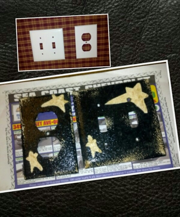 DIY Primitive switch plates. Sprayed flat black and painted stars in off white. Distressed and glazed