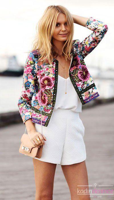 2015 Summer Women Jacket Models 3 Pictures 2015 Yazlik Bayan Ceket Modelleri 3 Resimleri 2015 Summer Women Jacke Fashion Floral Jacket Jackets For Women