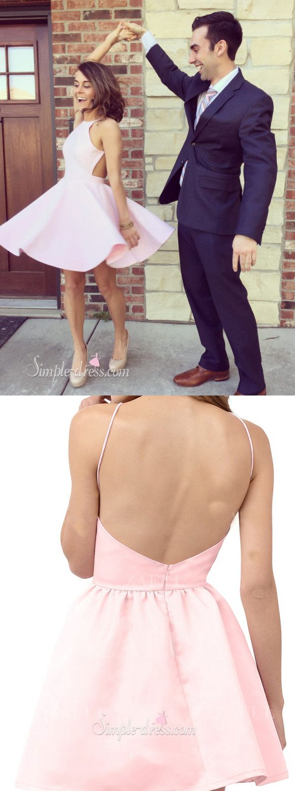 Simple A-line Pink Short Homecoming Dress/Party Dress with Backless                                                                                                                                                                                 More