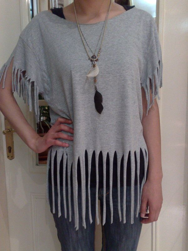 How to cut-up a top. T Shirt Recon (Fringes) - Step 8