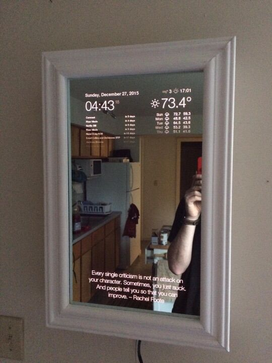 http://blog.dylanjpierce.com/raspberrypi/magicmirror/tutorial/2015/12/27/build-a-magic-mirror.html   <p> Make your own tech mirror!  Original by Dylan Pierce, who has a good diy and left free code for the project!