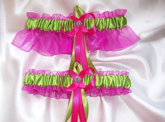 Elegant Hot Pink and Lime Green Wedding Garter by GartersByKristi