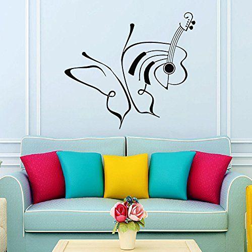 Wall Decals Butterfly Music Guitar Decal Sticker Vinyl Decals Wall Decor  Murals Z511 WisdomDecalHouse Http: