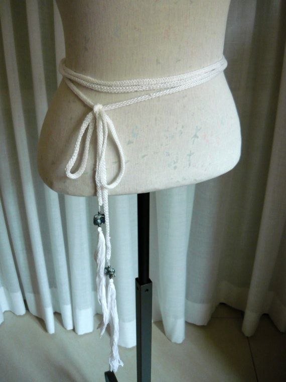 Very long cotton knit belt with extra long beaded di LTJstudio