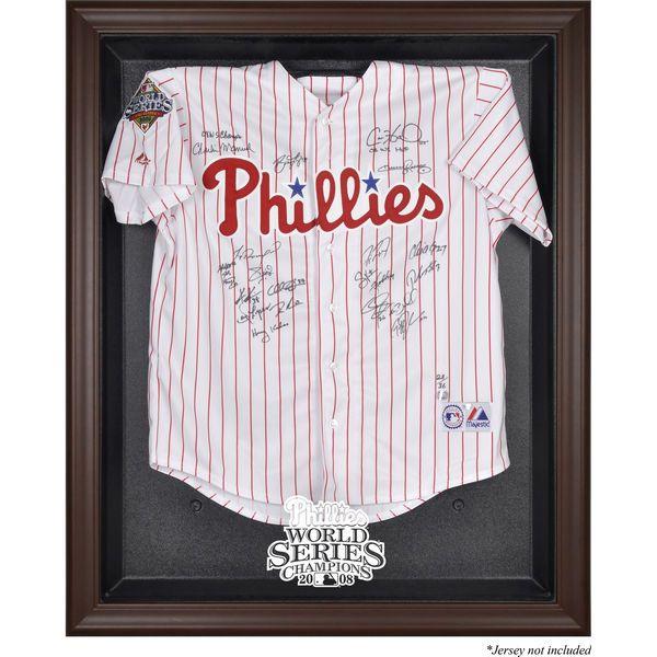 Philadelphia Phillies Fanatics Authentic 2008 World Series Champions Brown Framed Logo Jersey Display Case - $199.99