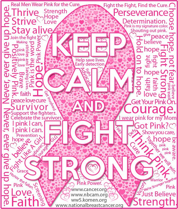 Keep Calm Fight Strong.  Think Pink.  Pink ribbon. Cancer Awareness.                                                                                                                                                      More