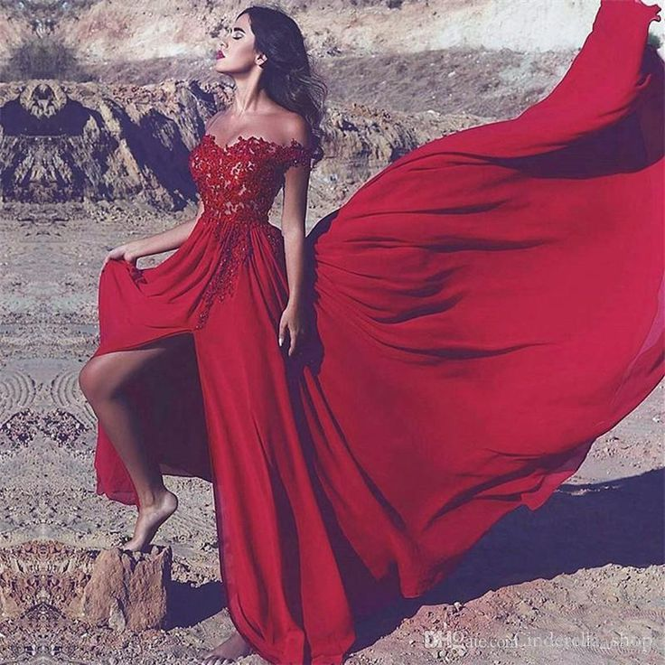Red High Slit Evening Dresses 2018 Off Shoulder A Line Sweep Train Appliques Beaded Formal Long Prom Party Red Carpet Customized Cheap Long Gowns Online Maxi Evening Dress From Cinderella_shop, $105.22| Dhgate.Com