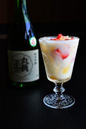 Fruits+snow 日本酒ベースのお家カクテル 春夏向創作カクテル04|レシピブログ