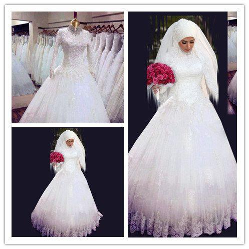 Le nouveau!! Arabes modérés style white robe de bal robes de mariée 2015 perles col haut à manches longues dans de sur Aliexpress.com