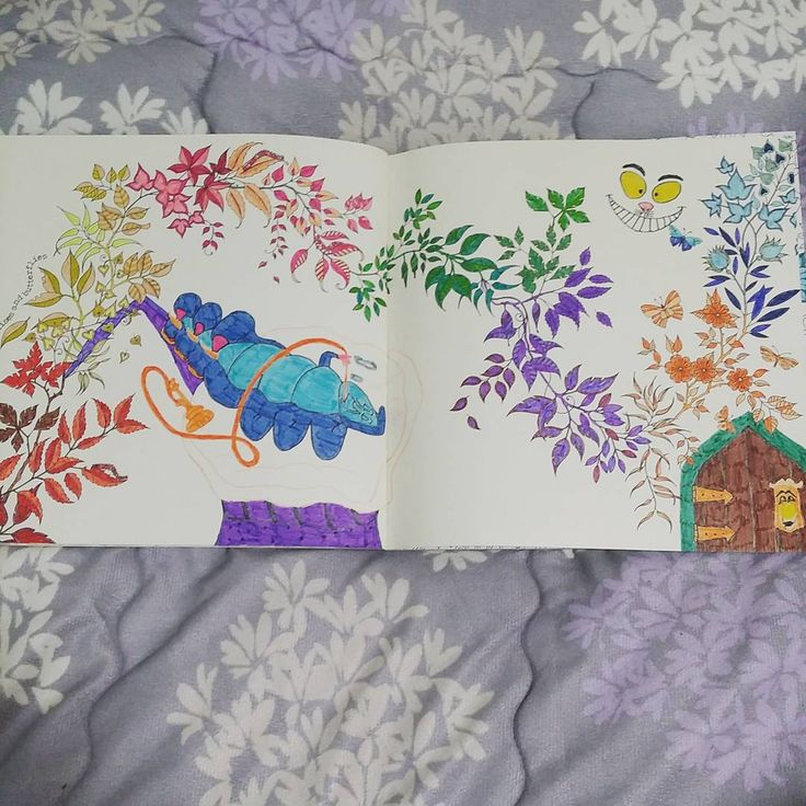 The Garden Colouring Book This Is Page 9 And Rainbows 3 Alice In Wonderland Characters Mr Caterpillar Cheshire Cat Door Knob