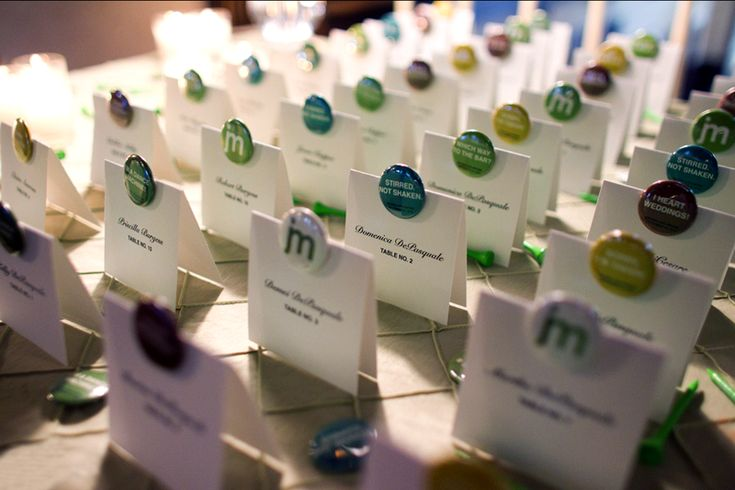 Escort card style badge/cards via Oh So Beautiful Paper - my friend Melissa designed these and I produced them.