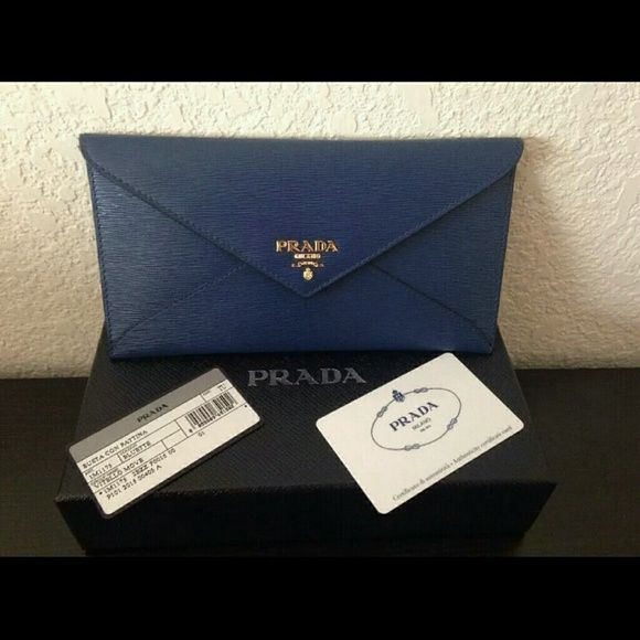 95ec699be76648 Prada Vitello Move Envelope Wallet, Clutch In Blue Featuring NEW Vitello  Move Leather in Bluette Details: Gold-plated hardware Snap…
