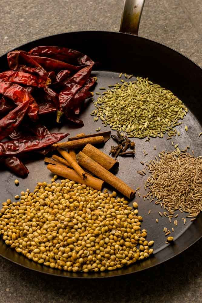 Recipe or making home made curry masala powder. South Indian Style curry masala powder used for kurma and non-veg dishes. Step by step pics and video.