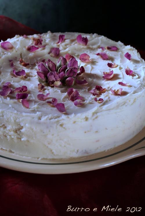 gluten free white chocolate, cardamom and rose cake