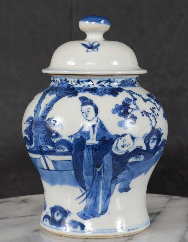 Antique Qing Chinese Porcelain Blue White Lidded Meiping Jar Figures Garden | eBay