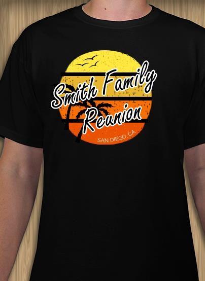 7003a39b Retro beach style family reunion t-shirt design. Make custom t-shirts online .
