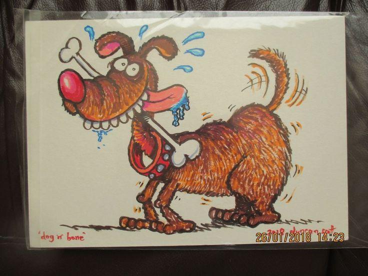 "Original Hand Drawn ""Dog and Bone"" by Beano Dandy comic Artist Duncan Scott"
