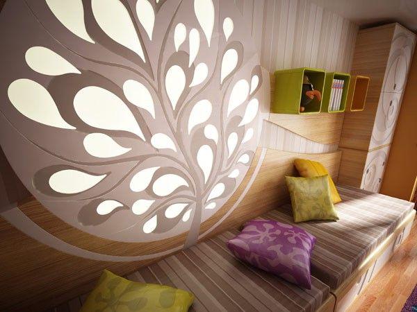 Children's Purple yellow bed tree lighting