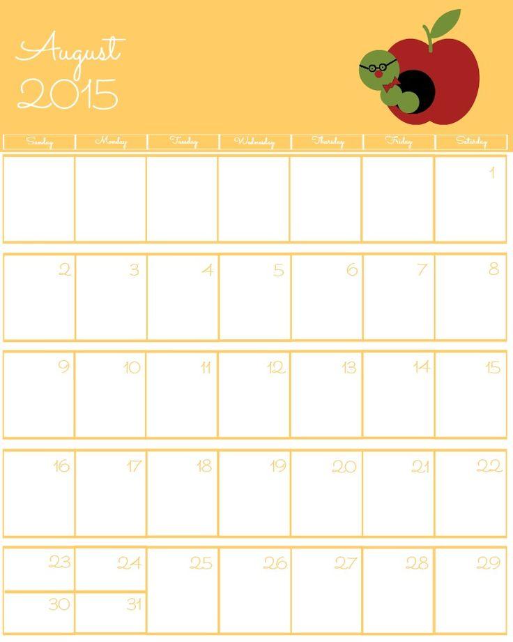 august weekly calendar 2015