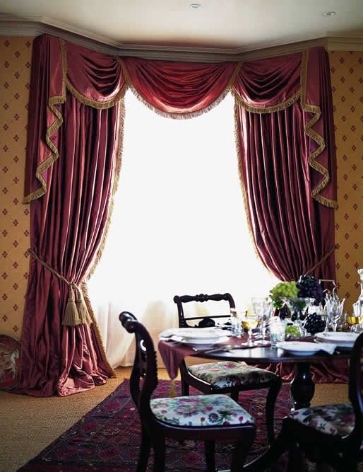 Nepal silk bay swags tails and curtains burgundy for Window design in nepal