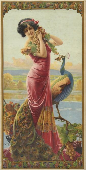 Vintage Peacock Art... Gaspar Camps, Cordial Medoc. Edwardian girl and peacock: perfect combination <3