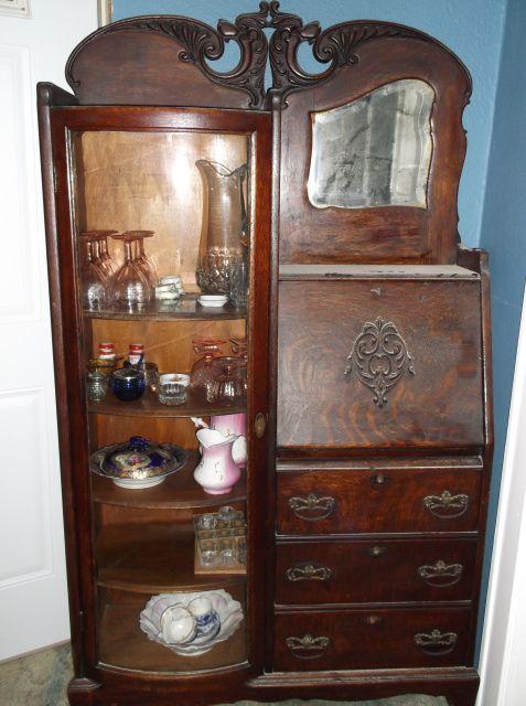 antique secretary desks side by side china cabinet vintage furniture ...