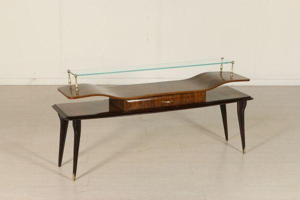 Consolle; legno di palissandro, legno tinto ebano, vetro, ottone. Buone condizioni, presenta piccoli segni di usura.