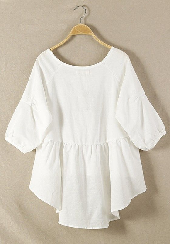 White Plain Hem Irregular Loose Cotton Blend Blouse