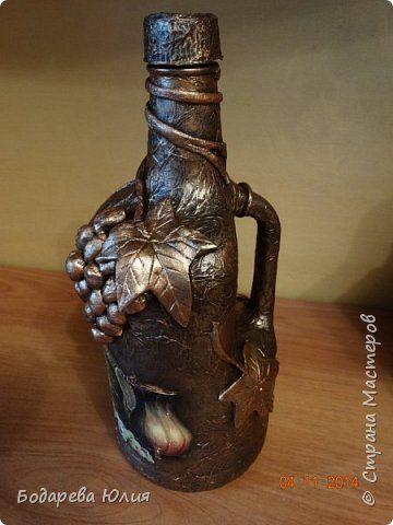 Декор предметов Аппликация из скрученных жгутиков Декупаж Бронзовый век Бутылки стеклянные фото 12