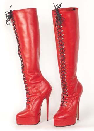 Bottes lacées en cuir rouge mat Laciabota pointure 41