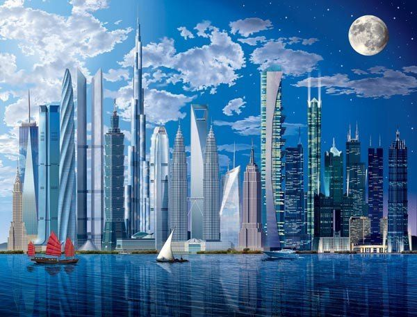 Worlds Tallest Buildings Wall Mural