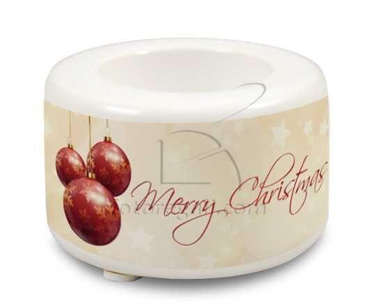 Portacandela in ceramica Natale dorato