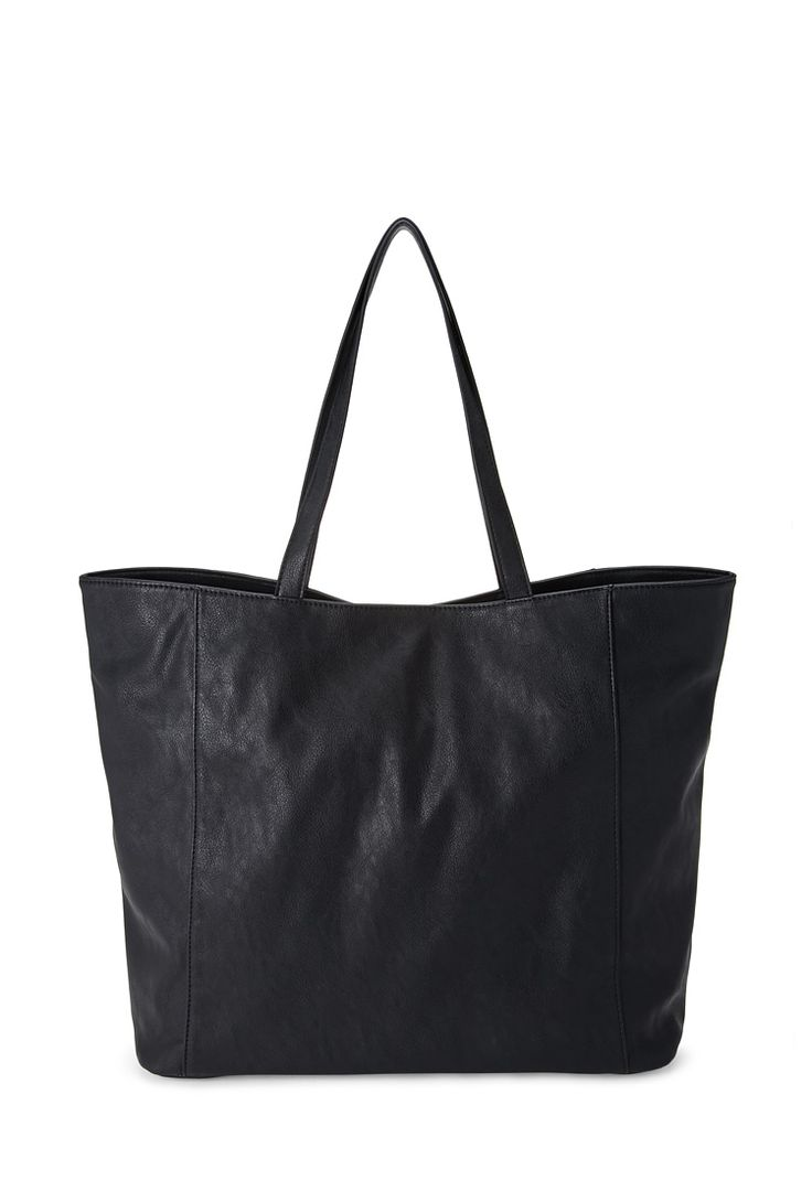 Slouchy faux leather tote bag