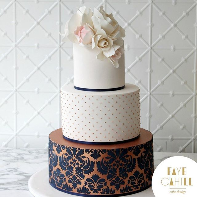 Just Had To Share This Beautiful Three Tier Ivory And Rose Gold With Navy Damask Wedding