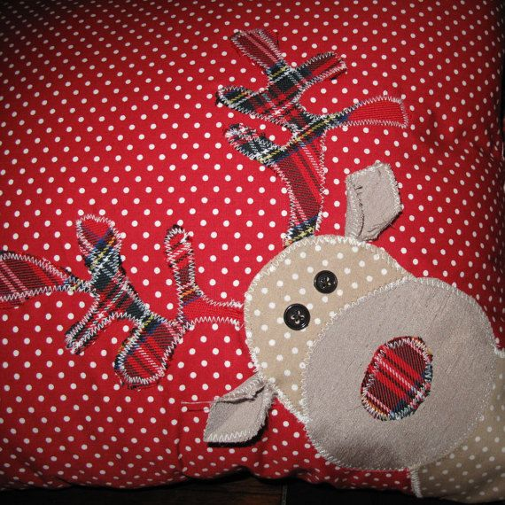 Handmade Christmas Cushion Rudolph Santa by RaRaCreationsShop