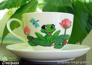 Чайная пара 'Малышка-лягушка' с декором из полимерной глины - полимерная глина, авторская посуда для дома. МегаГрад - главный ресурс мастеров и художников