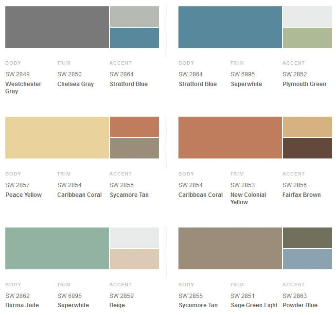 Sherwin-Williams Suburban Modern Exterior Colors  opt. 1 peace yellow, caribbean coral, and sycamore tan  opt. 2 caribbean coral, new colonial yellow, fairfax brown  opt. 3: burma jade, super white, and beige