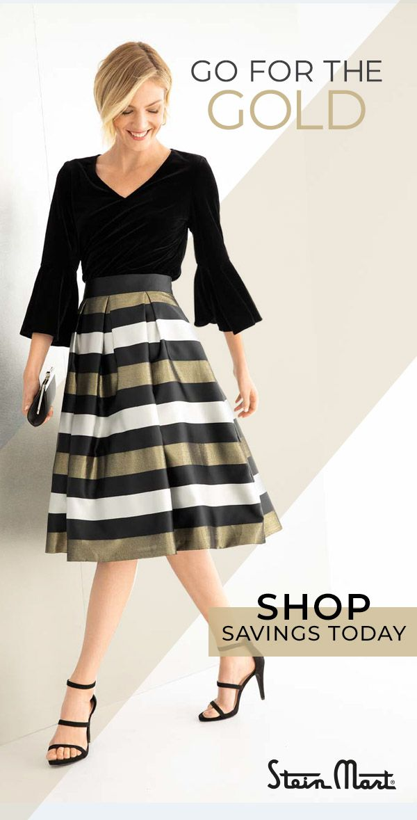 8130c5e40feb Own the holiday party in black, gold, shimmer and shine with party dresses  from Stein Mart – tap the Pin and check out the selection.
