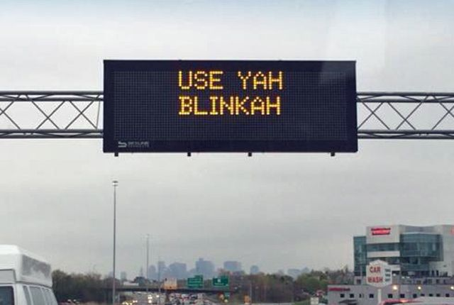 The Massachusetts Department of Transportation no doubt got the attention of thousands of motorists Friday morning when their electronic highway message boards suddenly had a wicked strong Boston accent.