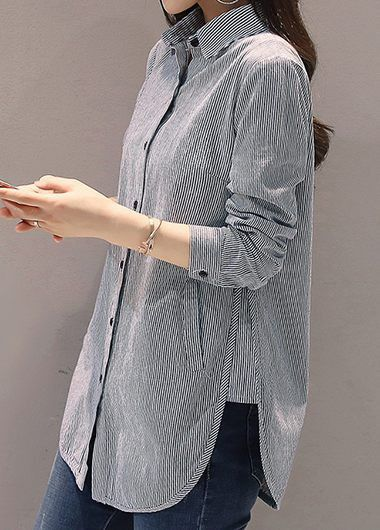 Long Sleeve Stripe Print Button Up Grey Shirt | Rosewe.com - USD $30.02