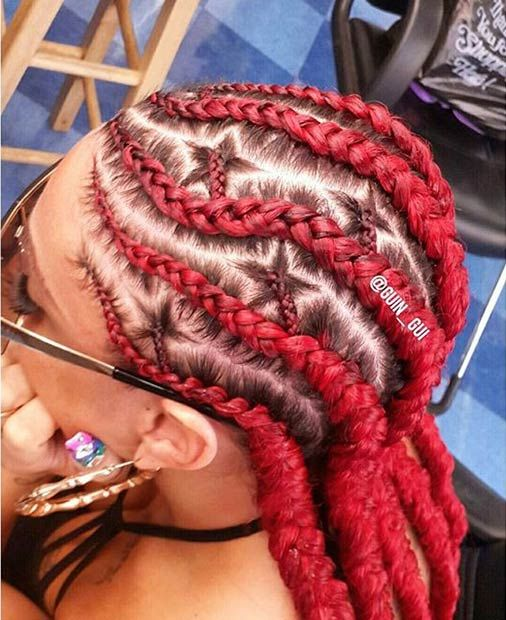 Cool Red Cornrows Look