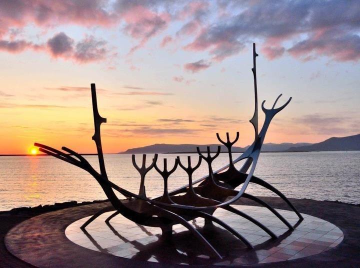 The Sun Voyager Sculpture by Jón Gunnar Árnason   Viking Boat Sculpture   Sculpture and Shore Walk, Reykjavík, Iceland