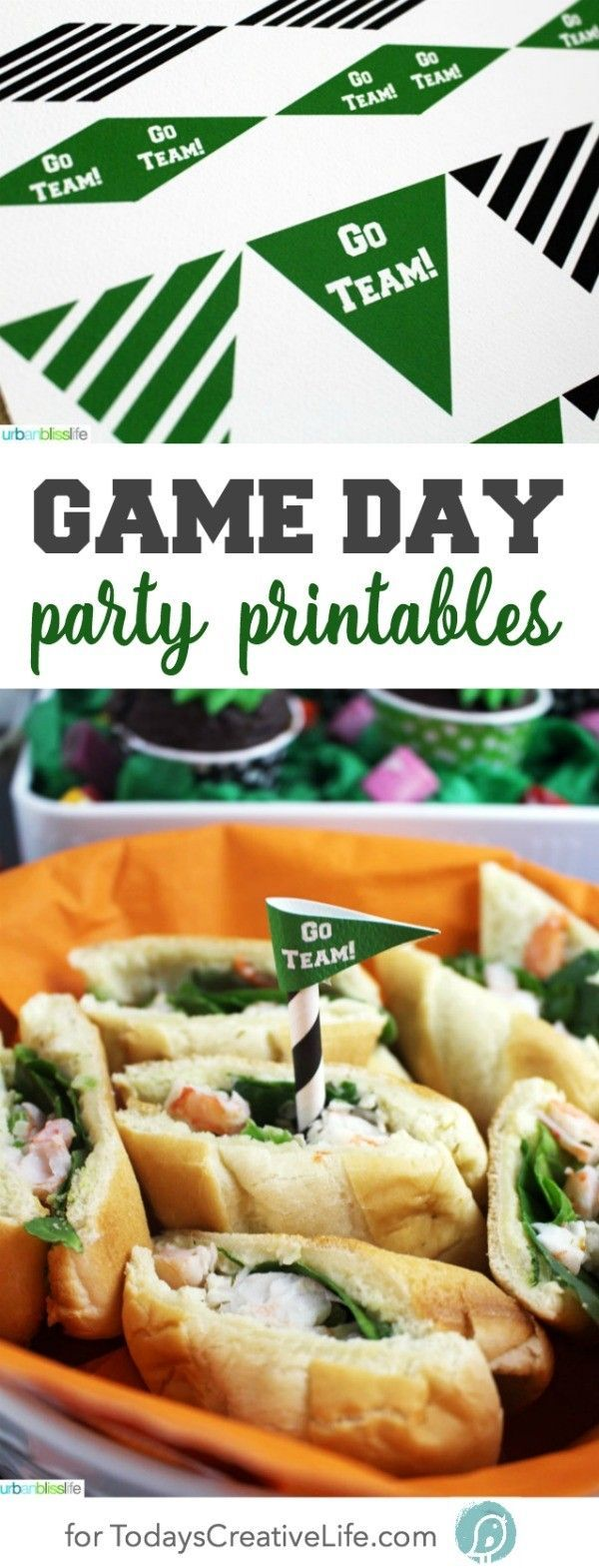 Free Game Day Party Printables | Free printables always make any event better! These football printable are great for all season or for super bowl! Designed by UrbanBlissLife for http://TodaysCreativeLife.com