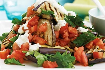 Barbecuing brings out the sweet flavours in the eggplant, providing a perfect contrast to the tangy mint dressing.