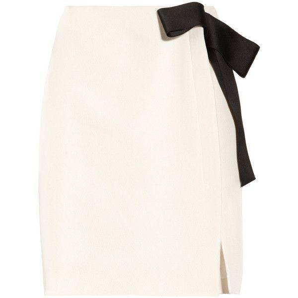 Lanvin Bow-embellished piqué pencil skirt ($2,090) ❤ liked on Polyvore