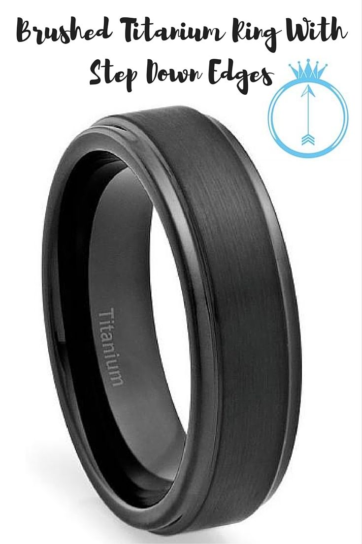 100% pure titanium, with a very comfortable design. This all black titanium ring has a gorgeous brushed center with step down edges.-->6mm Brushed Titanium Ring With Step Down Edges