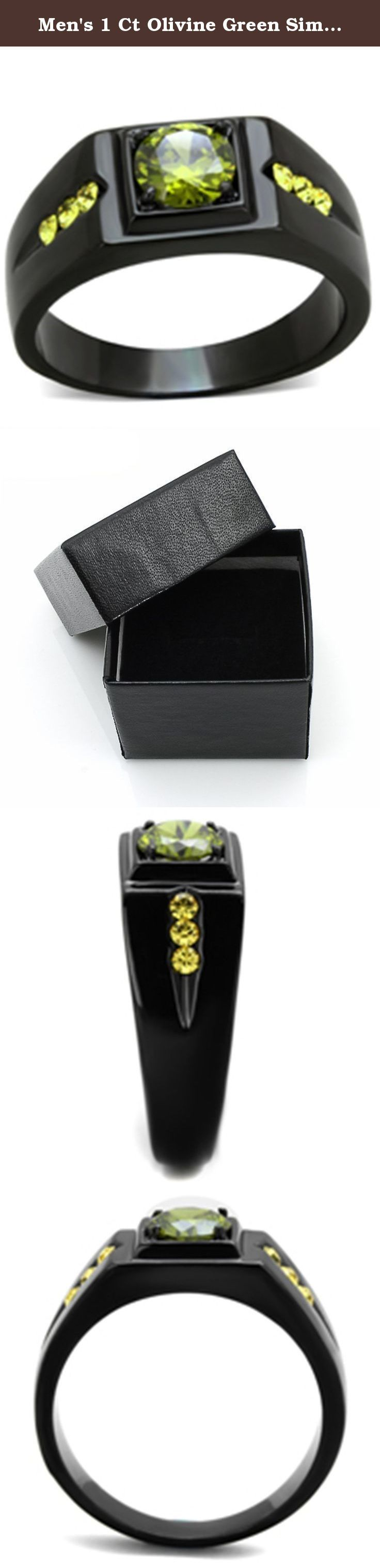 Men's 1 Ct Olivine Green Simulated Diamond Stainless Steel Black Ion Plated Ring Size 11. Men's 1 Ct Olivine Green Simulated Diamond Stainless Steel Black Ion Plated Ring Men's AAA Grade Simulated Diamond Ring. Features a .84 Ct (6mm) Olivine green round brilliant cut center stone in a prong setting, accented by 6 (2mm) round brilliant cut stones in a channel setting. Total carat weight is 1.02 diamond equivalent. Top quality stones display enriched clarity just like real diamond…