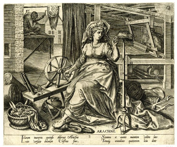 Arachne personifying textile production; she turns a ...